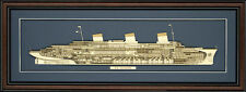 Wood Cutaway Model of SS Normandie - Made in the USA