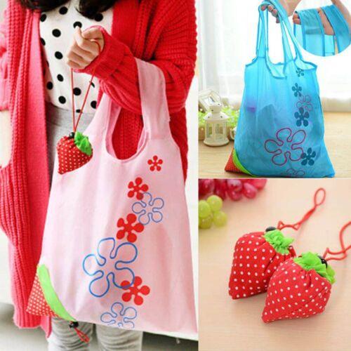 Cute Foldable Storage Grocery Eco Bag Strawberry Reusable Shopping Handbag Tote