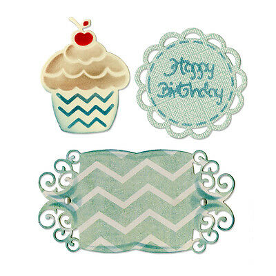"Sizzix 659067 ""Birthday Cupcake & Labels"" Thinlits 3 Cutting Dies  NEW"