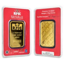 Sale Price - 1 oz Republic Metals (RMC) Gold Bar .9999 Fine (In Assay)
