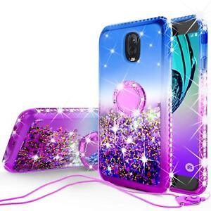 quality design 7c8b3 16c68 Details about Samsung Galaxy J7 Star,J7 2018 Liquid Glitter Phone Case  Girls Kickstand Purple