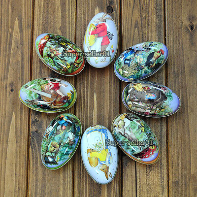 New Metal Tin Easter Festival Egg Gadget Gift Storage Candy Box Case Decor Gift