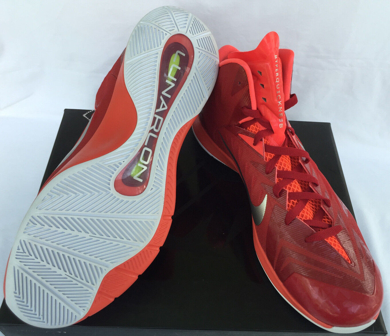 New Nike Lunar Hyperquickness 652775-606 652775-606 652775-606 Red Silver Basketball shoes Men's 17 35080b