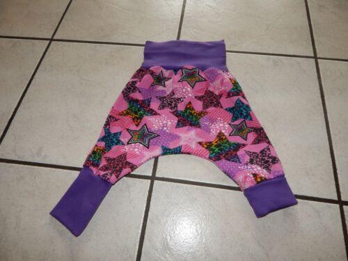 Mitwachshose Pumphose  aus Jersey pink mit bunten Sternen