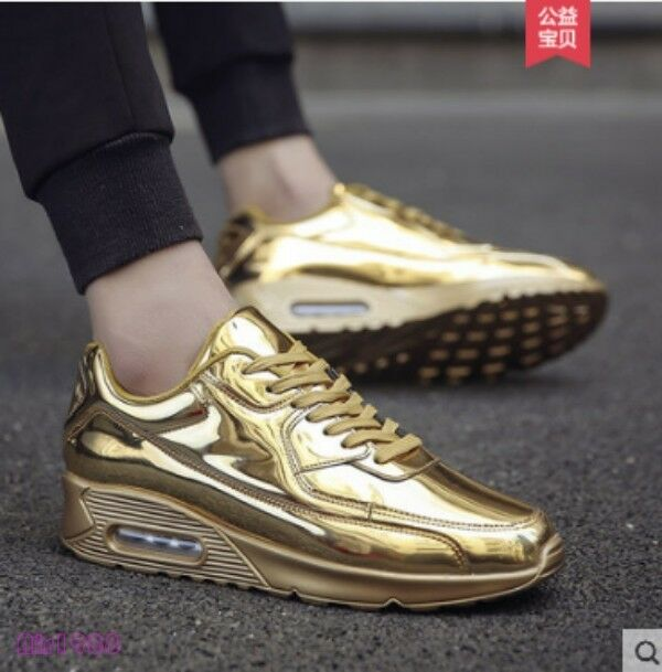 Mens gold Sliver Patent Shiny Sneakers Athletic Sport Running shoes Lace Up New