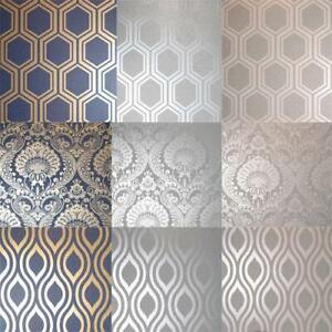 Arthouse-Luxe-Damask-Hexagan-Ogee-Geo-Metallic-Wallpaper-3-Colours