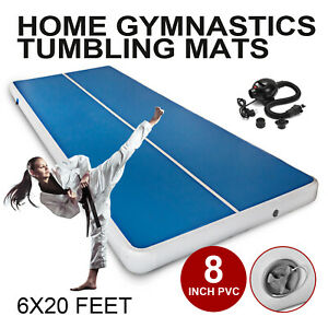 20Ft-Airtrack-Inflatable-Air-Track-Floor-Home-Gymnastics-Tumbling-Mat-GYM-Pump