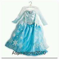 Disney Store Authentic Elsa Frozen Princess Fancy Dress Costume Age 7-8 9-10 New