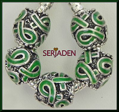 5 Green Ribbon Charm Spacer Beads Fits European Jewelry 11 * 12 & 5 mm Hole S142