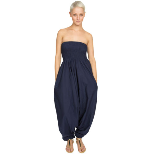 2 in 1 Cotton Maxi Harem Trouser Navy Jumpsuit