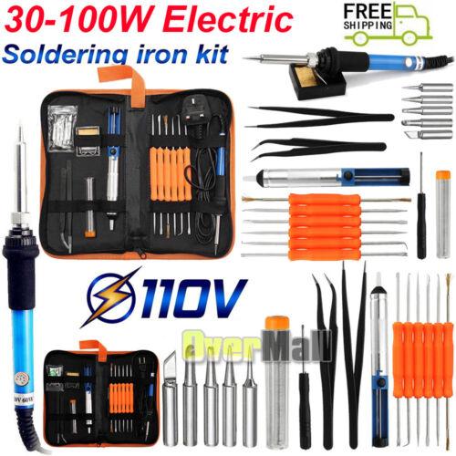 30-100W Adjustable Electric Temperature Gun Welding Soldering Iron Tool Kit 110V