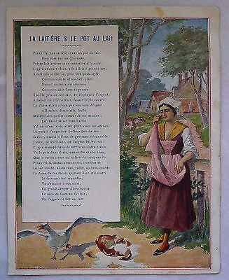"Ancienne Illustration Fable De La Fontaine ""la Laitiere Et Le Pot Au Lait"""