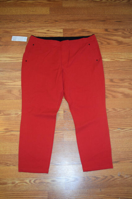 23b7bfff957d6 Womens June & Daisy Stretch Smooth Twill Capris Pants Red Size M for ...