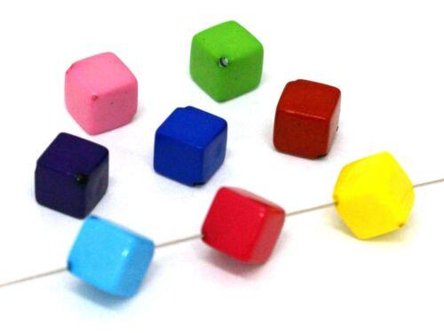 30 unidades 8mm #k69 Mix multicolor Acrílico resin perlas cubo