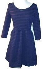 MAEVE Anthropologie Womens Brenna Dress Navy Blue Burgundy Stripe 3/4 Sleeve 4