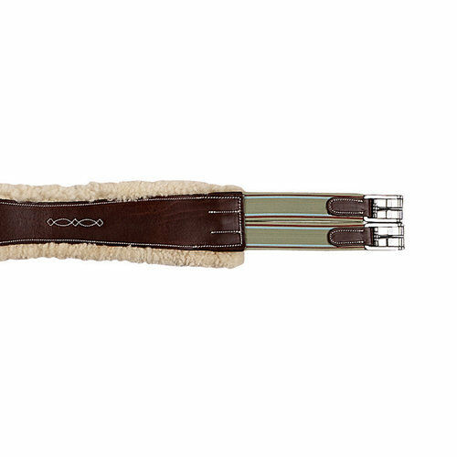 NEW M. Toulouse Double Elastic Removable Sheepskin Girth - Chocolate - 56