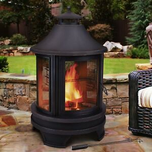 Outdoor Fireplace Burner Decor Patio Fire Pit Cooking Tall Heater Parties Wood