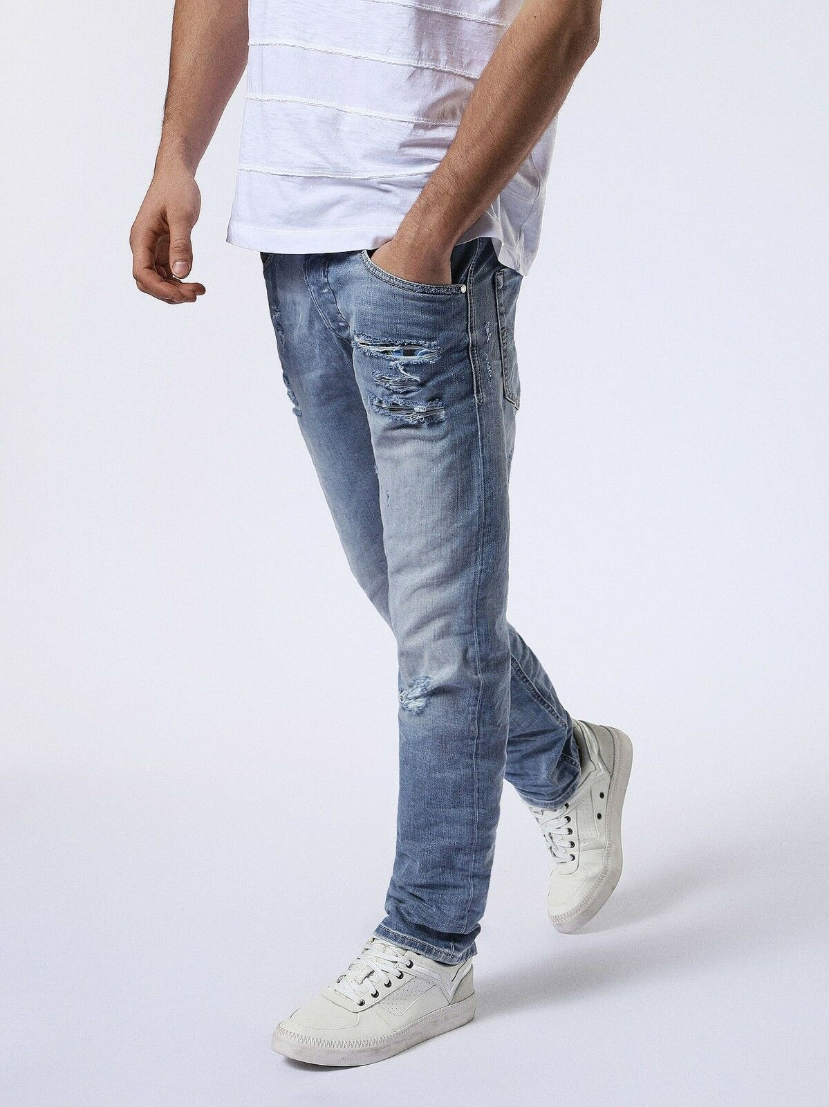 Authentic DIESEL Men's Belther 0857F Distressed Slim Tapered Jeans Denim