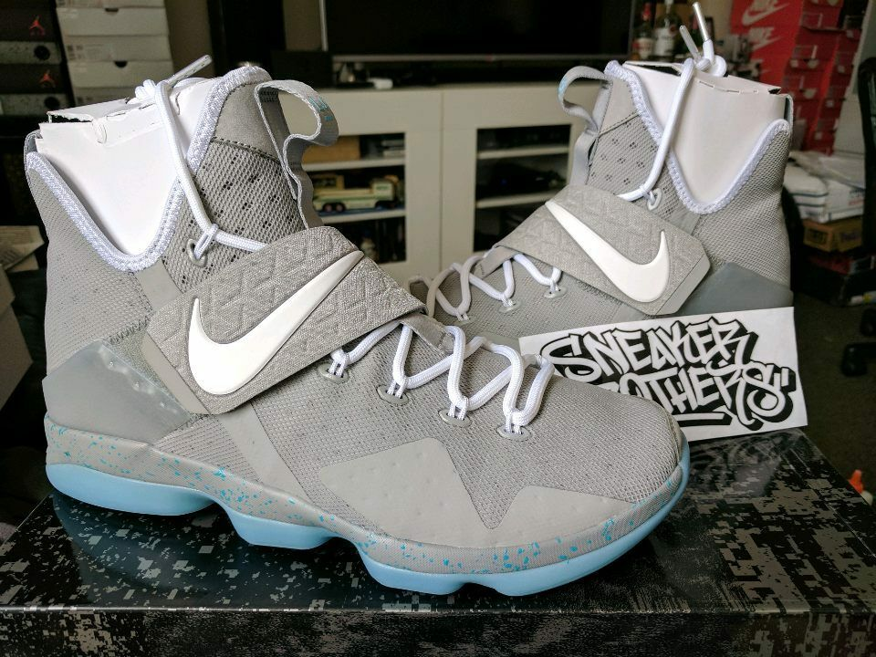 Nike LeBron XIV 14 Marty McFly Mag Summer Pack Matte Silver White 852405-005 Wild casual shoes