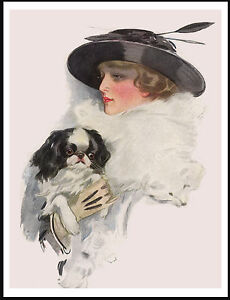 LADY WEARING BLACK HAT WITH FEATHERS HOLDING A JAPANESE CHIN ON DOG PRINT POSTER