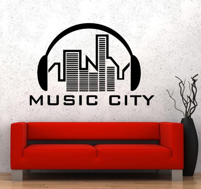 Wall Vinyl Music Headphones City Urban Song Guaranteed Quality Decal (z3575)