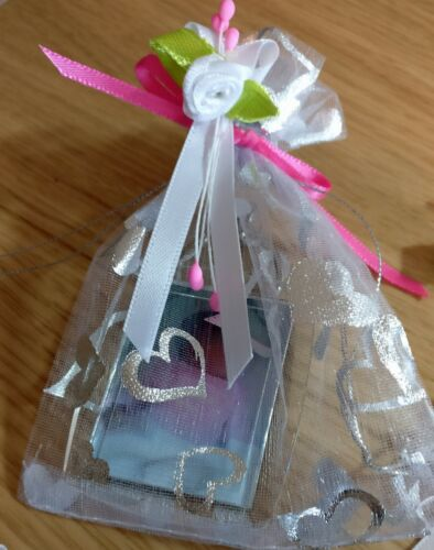 DOUBLE SIDED PERSONALISED PHOTO KEY RING WITH GIFT BAG /& RIBBONS