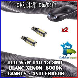 2-x-ampoule-Veilleuse-LED-W5W-T10-13-SMD-BLANC-XENON-6000k-voiture-auto-moto