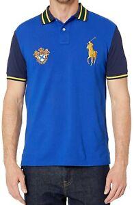 Details about New Mens Polo Ralph Lauren Custom Slim Fit Gold Big Pony Blue Polo Shirt XL
