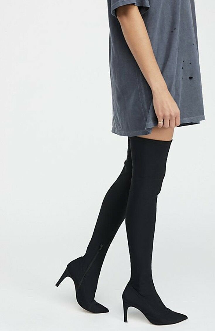 NEW Free Free Free People Stretch Fabric Tight Fit Thigh Hi Over The Knee Boot 39  8.5-9 2a18e6