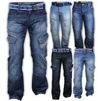 Mens Jeans Crosshatch Denim Pants Cargo Combat Straight Leg Free Belt Designer