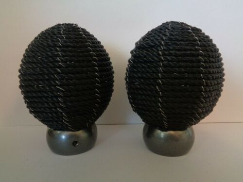 Thread Effect Finials End For 28mm Curtain Pole Pair Of Black Rope