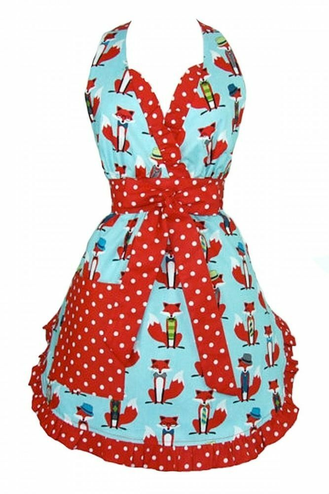 Hemet Blau and rot Fox Apron Apron Apron Polka Dot kitsch Vintage Inspirot craft f054de