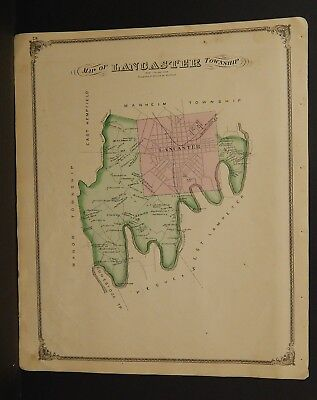 Discreet Pennsylvania Lancaster County Map Lancaster Township 1875 Dbl Side Y15#23 Beautiful In Colour North America Maps Maps, Atlases & Globes