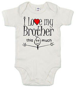 """Lustig Baby Body """" I Love My Bruder This Much """" Strampelanzug Mädchen Jungen Baby Kleidung, Schuhe & Accessoires"""