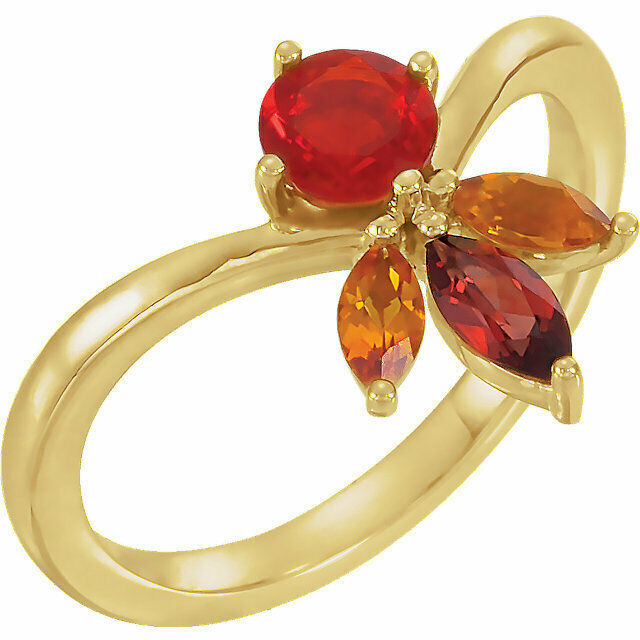 4 Stones Multi-Shape Cluster Ring 10K or 14K Solid gold Personalized Birthstones