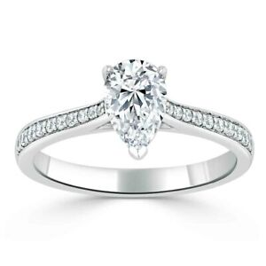 2.40 Ct Pear Cut Moissanite Engagement Ring Solid 18K White Gold ring Size 9.5