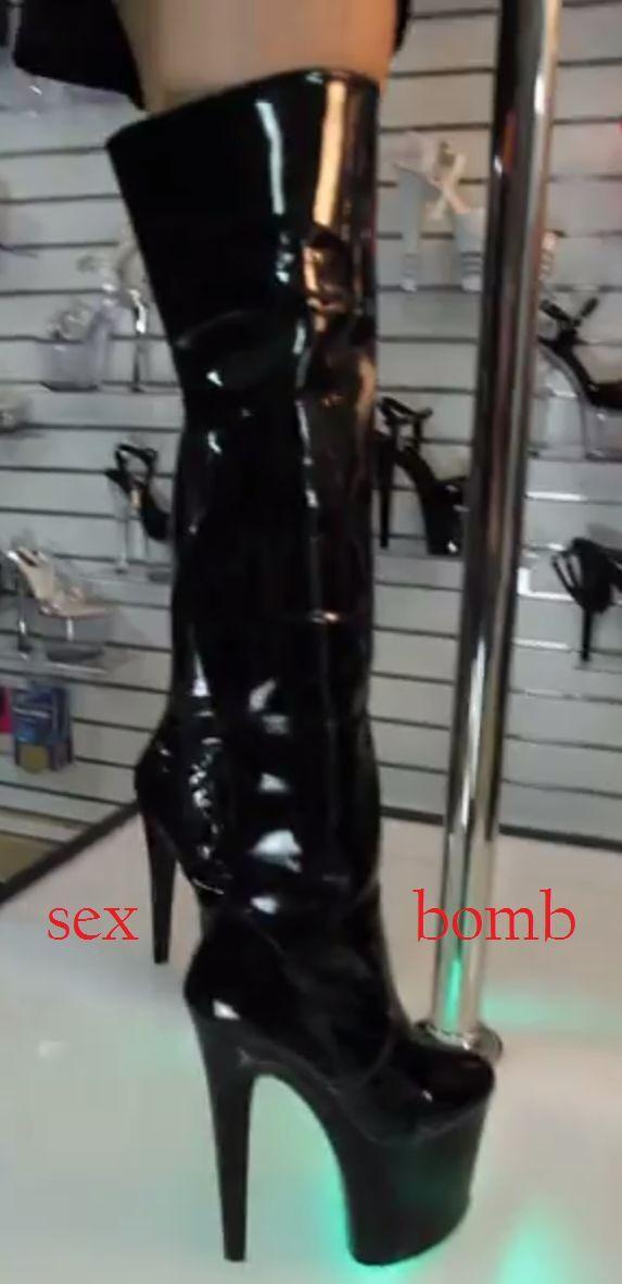 SEXY stivali coscia tacco nero lucido plateau tacco coscia 20 DAL n. 36 AL 44 dance GLAMOUR 48e751