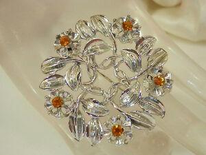 Very-Pretty-Vintage-1950s-Rhinestone-Flower-Brooch-329H