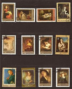 21T1-Russia-Ussr-12-Cancelled-Stamps-Paintings-Famous-With-Model-Female
