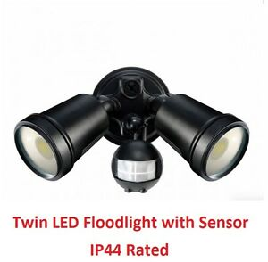 Twin Led Floodlight With Security Motion Sensor Lights
