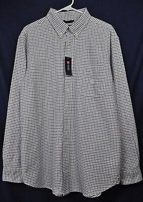 Ralph Lauren Chaps Mens Cotton Plaid Button Up Shirt White Blue size Large NWT!