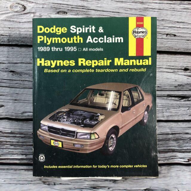 Haynes Repair Manual Dodge Spirit Plymouth Acclaim 1989