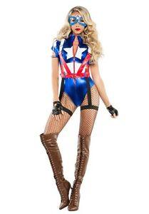 Halloween Kostume Amerika.Details Zu Starline Kapitan Usa Amerika Comic Bucher Erwachsene Damen Halloween Kostum