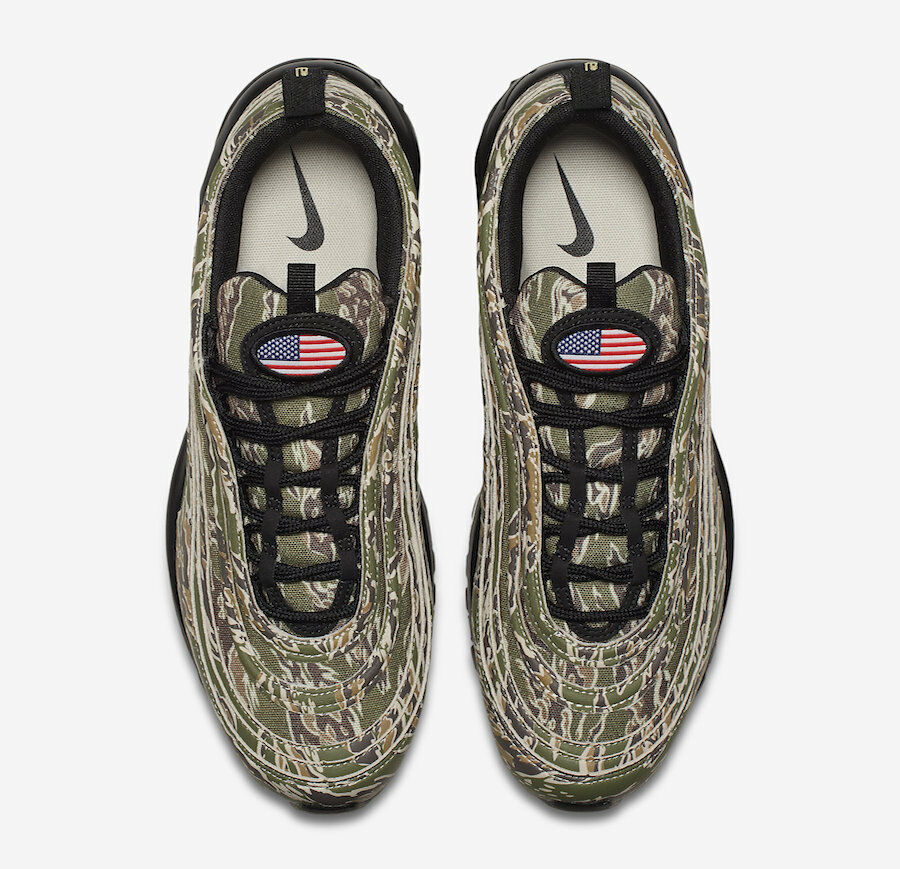 Nike Air Max 97 Camo USA QS size 10. Olive Black.Country Camo. AJ2614-205. Seasonal price cuts, discount benefits