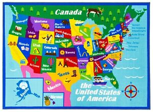 Details about New Educational USA States Map / Princess World Reversible  Fun Kids Area Rug