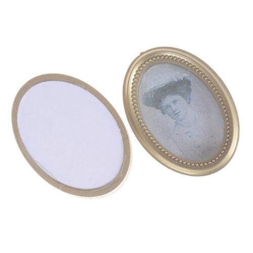 2X//Set Dollhouse Miniature Victorian Gentleman Lady Picture Oval Photo FramBILU