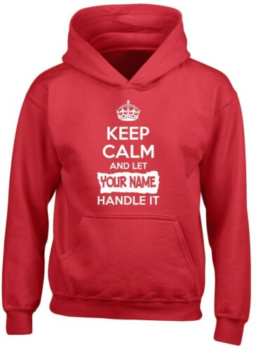 S Keep Calm Let YOUR NAME Handle It Personalised Kids Custom Hoodie 10 Colours