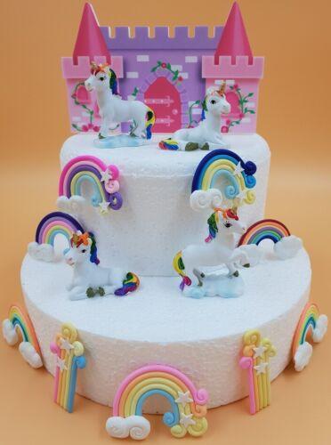 Rainbow Unicorn /& Castle Birthday Cake Topper Cake Decoration Mini Unicorns