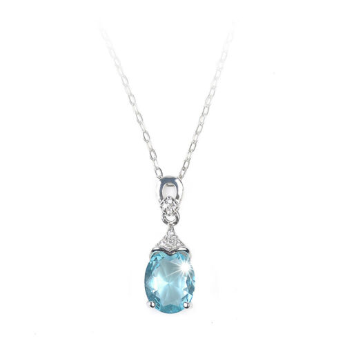 Aquamarine Zircon Women Jewelry Gemstone réglable collier pendentif cadeau NL288