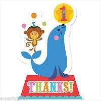 Fisher Price Circus Thank You Notes (8) 1st Birthday Party Supplies Card First